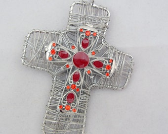 Large Wire Wrapped Silver-tone Cross Pendant Red Epoxy Orange Red Rhinestones