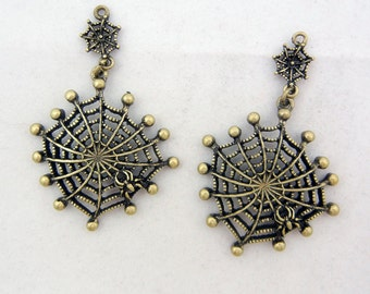 Pair of Burnished Gold-tone Open-work Spiderweb Charms