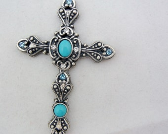 Antique Silver-tone Western Style Cross Pendant with Rhinestones and Faux Turquoise