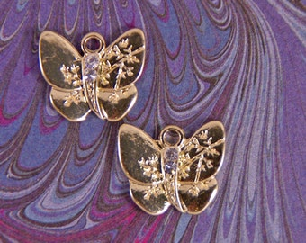 Set of Gold-tone Double-sided Butterfly Charms
