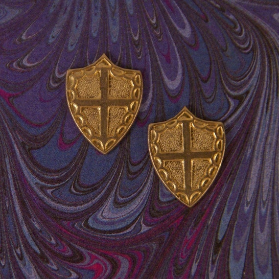 Pair of Small Brass Shield Stampings with Heraldic Cross Design