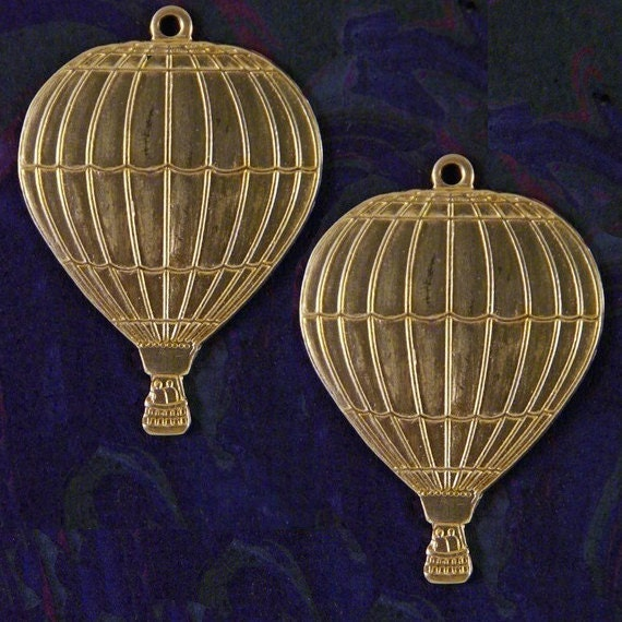 Pair of Large Brass Hot Air Balloon Charms
