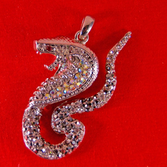 Cobra Snake Pendant Silver-tone with Hematite and Clear Rhinestones