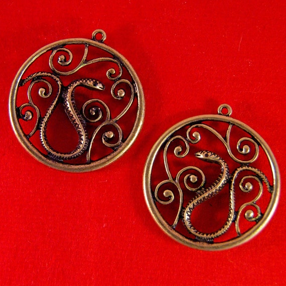 Pair of Burnished Gold Round Snake Charms