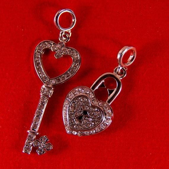 Set of Rhinestone Skeleton Key and Heart Shaped Lock Charms