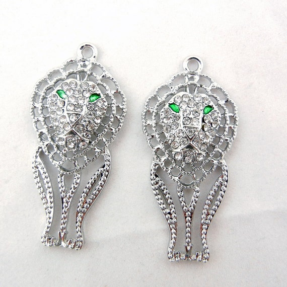 Pair of Silver-tone Outline Filigree Lion Charms