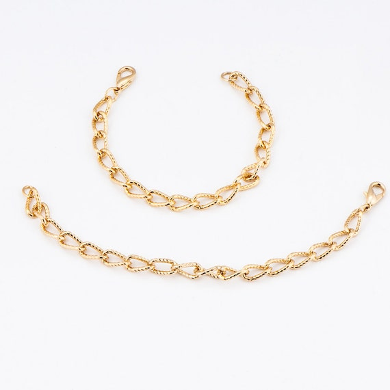 2 Lobster Claw Clasp Bracelets B54 Gold-tone Oval Links