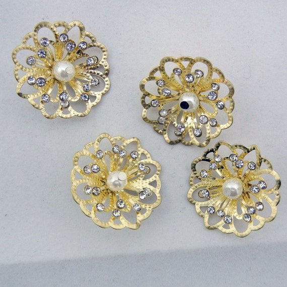 Gold-tone Filigree Flower Charms with Rhinestones and Faux Pearl