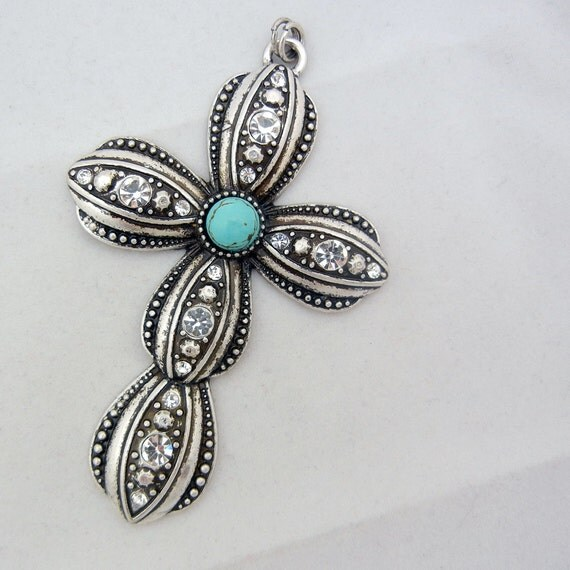 Western Style Cross Pendant Antique Silver-tone Rhinestones and Faux Turquoise