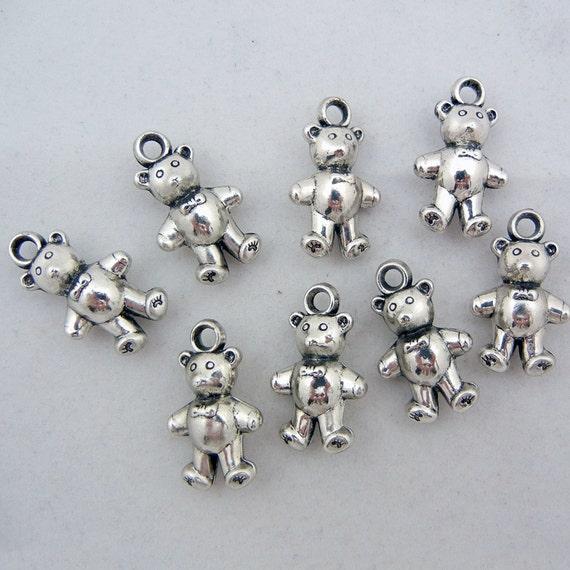 8 Metallic Plastic Dimensional Teddy Bear Charms Silver-tone