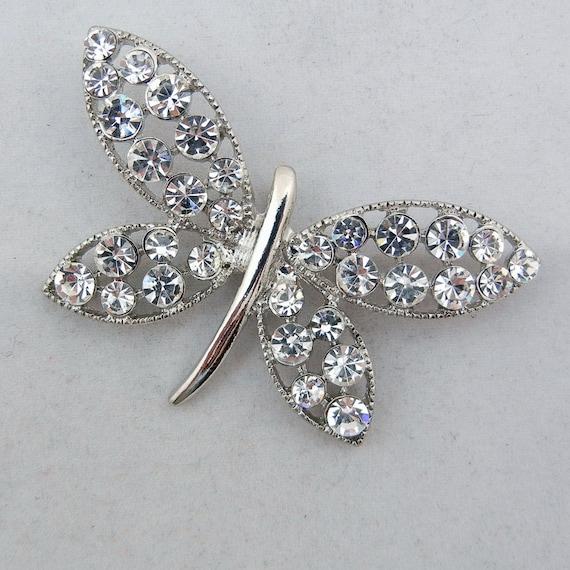 Silver-tone Rhinestone Butterfly Pendant