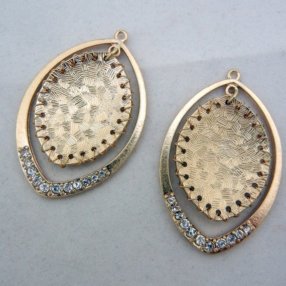 Pair of Gold-Tone Shield Shaped Drop Charms