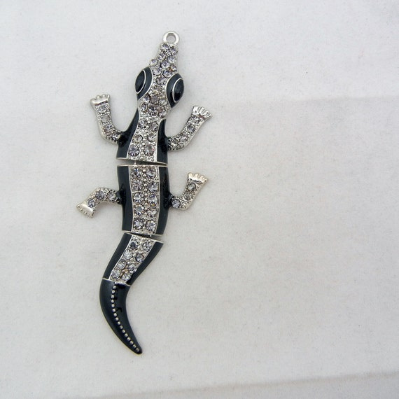 Silver-tone Flexible Alligator Pendant with Rhinestones and Black Epoxy