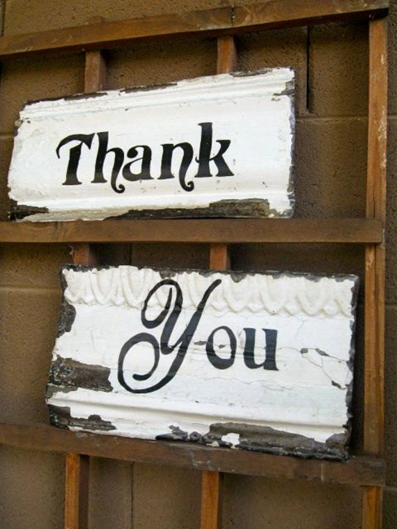 Wedding Thank You Sign Set made with Antique Ceiling Tin