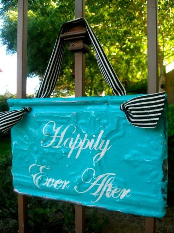 Happily Ever After Sign made with Antique Ceiling Tin Tile