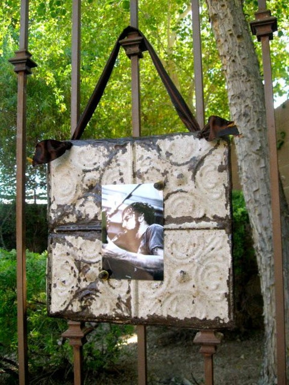 Antique Ceiling Tin Magnetic Memo Board / Picture Frame