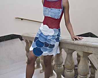 Recycled denim dress with patch pocket Breast