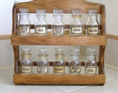 Wooden Spice Rack with Glass Jars