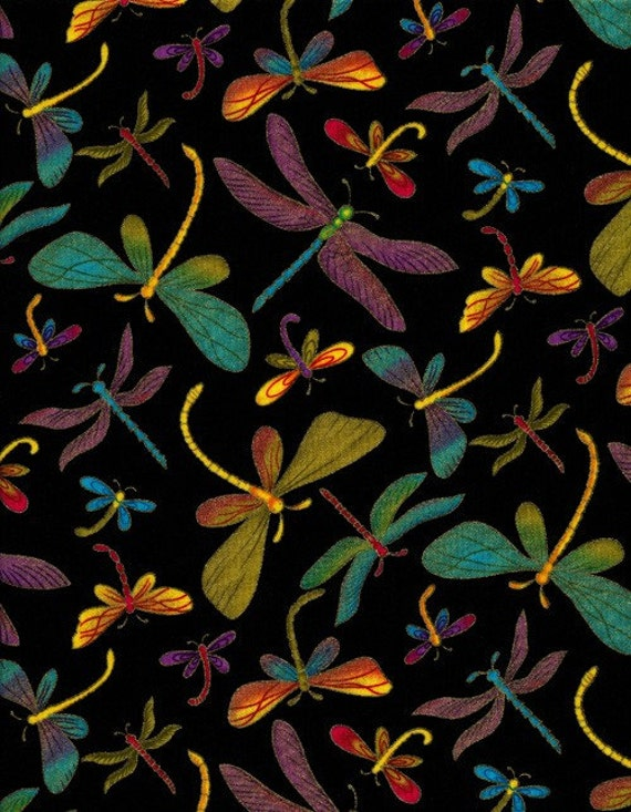 half yard cut bright metallic dragonflies by scruffyquilts