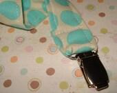 TURQUOISE SPOTS Pacifier/Binky Clip
