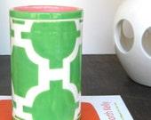 Handmade, Ceramic, Vase, Luxury, Gift, Gold Edged, Trellis, Kelly, Green