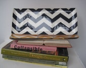 Designer Handmade Pottery, Cocktail Tray, Chevron pattern