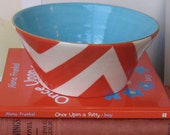 Berry Bowl in Buckley Chevron Coral