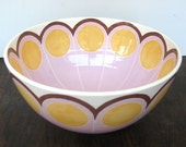 Handmade, Ceramic, Bowl, Luxury, Gift, Gold Edged, Abstract, Yellow, Lilac
