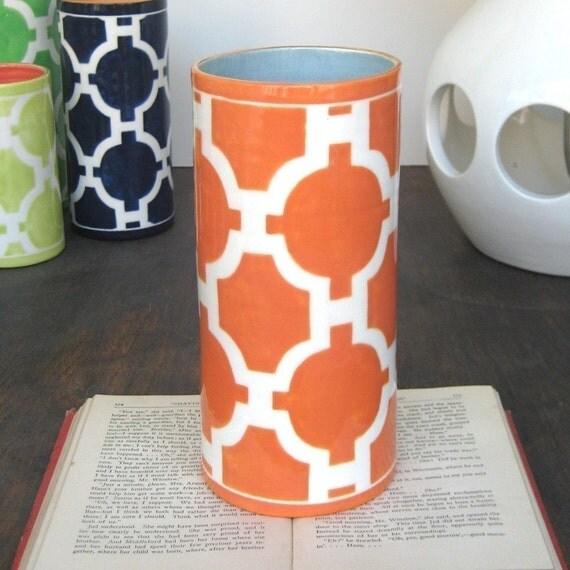 handmade, ceramic vase, gold trim, Trellis, Orange, violet interior