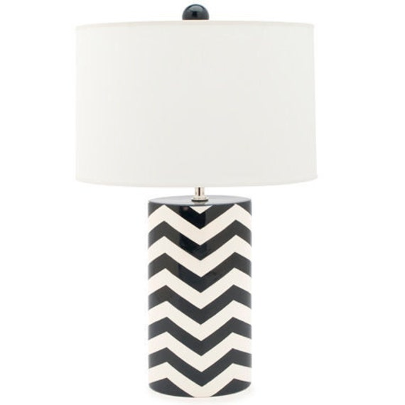 Handmade, Pottery, Lamp, Luxury, Gift, Gold Edged, Chevron, Navy, Blue