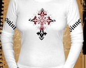 Saints and Sinners GOTHIC CROSS vintage tattoo style sexy GOTH, PUNK, EMO long sleeve tshirt