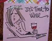 Card for Gifting Wine, It's Time To Wine (2x3 inch), wine tag, bottle tag, hostess wine gift card, gift enclosure card, wine gift