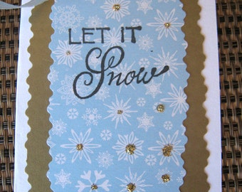 Let it Snow gift enclosure (or card for gifting wine), small holiday card/tag, tag for stocking stuffer, card for christmas gift, wine tag
