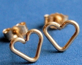 Heart Stud Earrings / Heart Studs / Dainty Earrings / Girl Earrings / Gold Studs / Little Heart Studs /14 Karat Gold Filled / Sweethearts