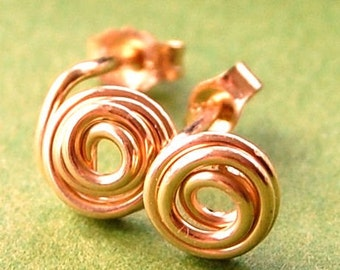 Rose Gold Earring Studs / Gold Studs / Gold Post Earrings / Rose Gold Studs/ Tiny Studs 14 Karat Rose Gold Filled Rosebud /' All Tangled Up'