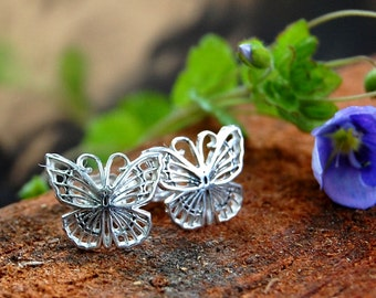 Silver Stud Earrings/Butterfly Studs/Sterling Studs/Insect Earrings/Gift for Her/Insect Jewelry/Holiday Gifts/Unique Studs
