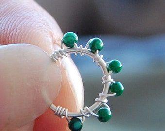 Tiny Cartilage Hoop - Sterling Silver Wrapped with Natural Malachite Gemstones