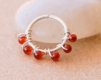 Cartilage Hoop - Sterling Silver Wrapped with Natural Carnelian Gemstones