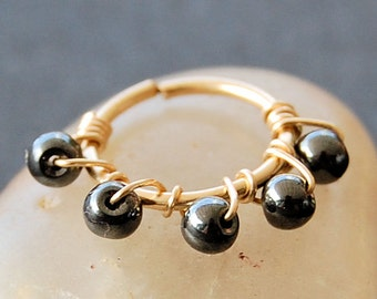 Tiny Cartilage Hoop - Yellow Gold Fill with Natural Hematite Beads