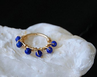 Cartilage Hoop - Tiny / 14k Gold Fill Wire Wrapped with Lapis Gemstones