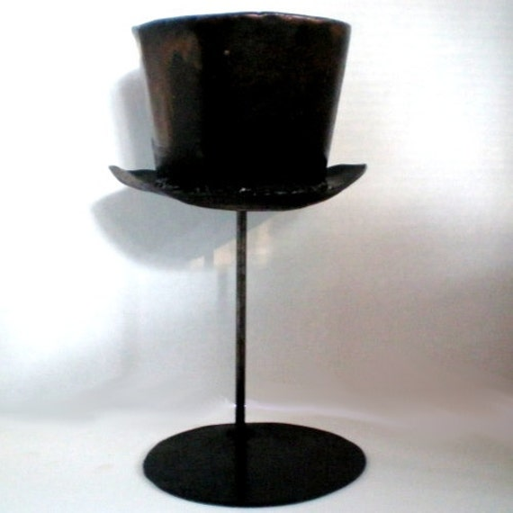 Small Hat Stand: SMALL Steel Mad Hatter Hat W/ Stand Metal Art OOAK By