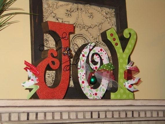 Joy Letters Ornament Decoupage Christmas Jingle Bells