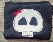 black recycled leather skull with bow coin  purse, UK FREE SHIPPING