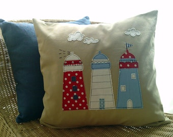Lighthouse applique cushion cover in natural linen.Free UK shipping.