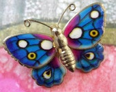 colorful vintage butterfly brooch