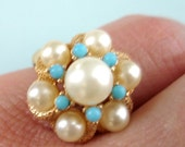 vintage Avon 1972 LUSTRE turquoise and pearl ring