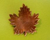 """inscribed """"Mom"""" vintage brassy gold Canadian Maple leaf brooch"""