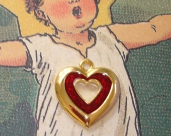 vintage red inlay gold heart pendant