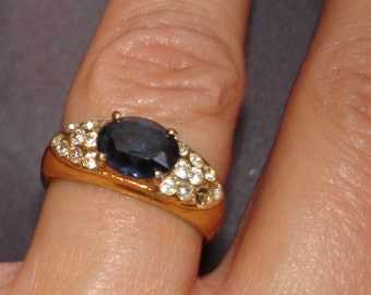 vintage faux diamond and sapphire ring size 6
