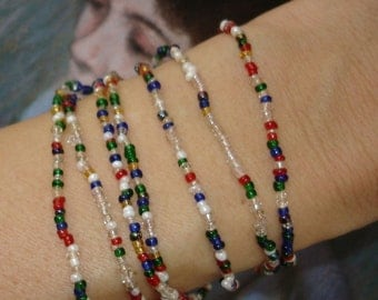 vintage confetti colored seed bead necklace or bracelet